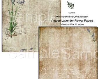 Instant Download - Vintage Lavender Flower Papers -  Printable Digital Collage Sheet - Digital Download