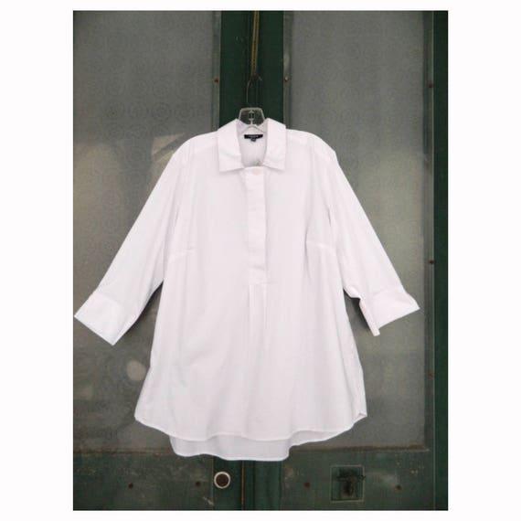 Premise Woman Crisp White Pullover Blouse -16W- Cotton/Poly/Spandex NWT