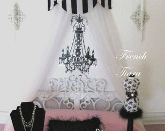 Canopy Crib Bed Twin Full Crown SWAG Cornice Teester White Black Bows Paris French Suzette Awning So Zoey Boutique Sale Custom Free ribbons
