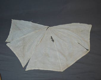 Antique Parasol Panels, Embroidered Cotton, 1900s As Is Edwardian Umbrella Cover Fabric