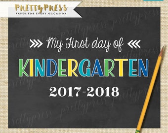 First Day of Kindergarten Sign, Boy First Day of School Sign, Chalkboard 1st Day of Kindergarten Sign, Instant Download