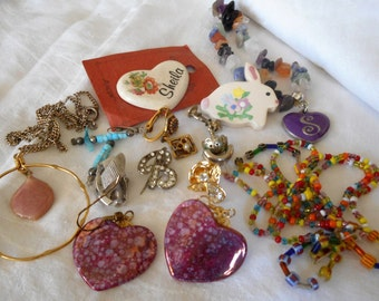 Lot VINTAGE Bead & Stone Chunks Earring Jewelry Finding Pieces