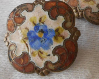 Small ANTIQUE White & Blue Enamel Flower Square Scallop Edge BUTTON