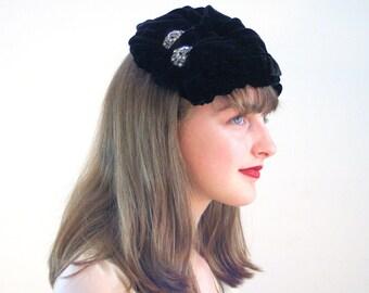 Roberta Bernay Hat, 50s Velvet Hat, Black Velvet Hat, Velvet Topper Hat with Rhinestones, Roberta Bernay's Hat, 1950s Black Hat, Ruched Hat
