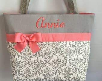 BRIDESMAID Bag Gray Damask  .. Tote Bag.. ..You Pick Color Options  ..  Monogrammed  FReE