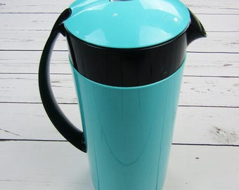 Vintage Turquoise Crown Corning Thermique Insulated Carafe 1 Qt Teal Blue Thermos