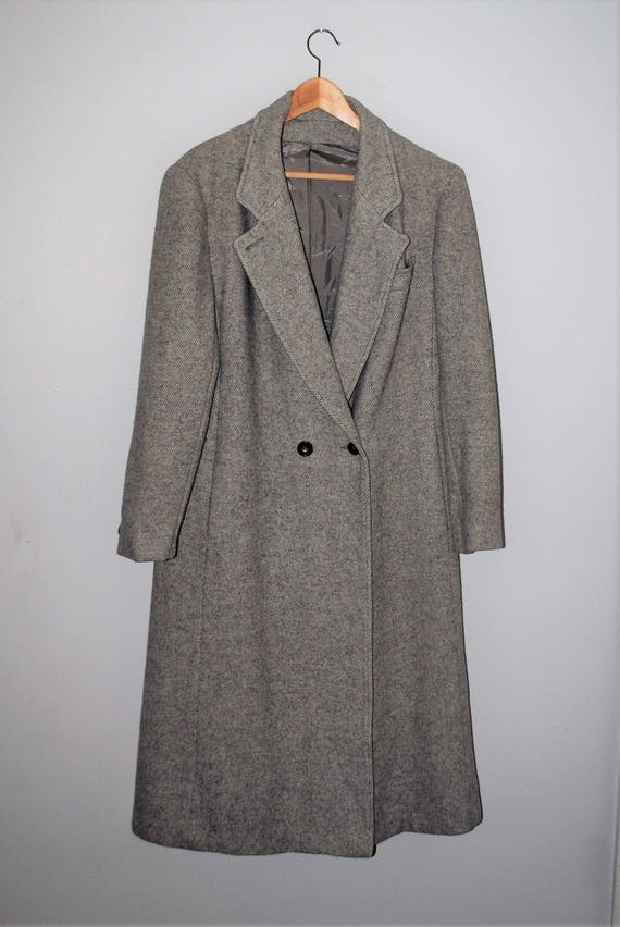 long grey tweed coat minimalist hipster vintage gray wool