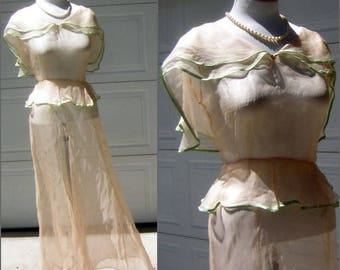 Vintage 20s/30s Dress Delicious Sheer Peach Silk Chiffon Beauty with Celery Green Trim  MEDIUM - clearance