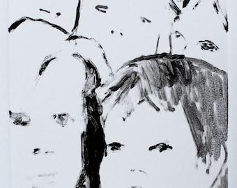 monotype print, black and white prints, figurative art, original print by Michelle Farro