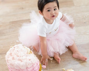 Pink and Gold First Birthday Outfit Girl, Baby Tutu Dress, Tulle Skirt, Baby Romper, Baby Headband Hat, 1st Birthday Outfit Girl, Cake Smash