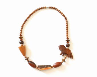 Vintage Wooden Beaded Statement Necklace with Carved Wood Lion Figure