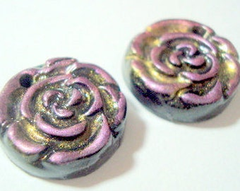 Pink and Interference Gold Handmade Polymer Clay Rose Beads