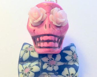 Big Pink and Blue Sugar Skull Day of the Dead Pendant or Ornament Bow Tie and Roses