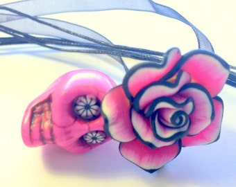 Skull Necklace Pink Black and White Rose Flowery Eyes Day of the Dead Necklace