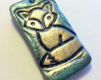 Fox Handmade Polymer Clay Pendant