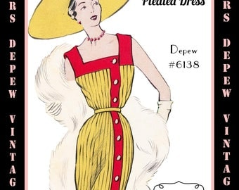 Vintage Sewing Pattern 1950's Ladies' Sleeveless Pleated Dress & Jacket in Any Size - PLUS Size Included - Depew 6138 -INSTANT DOWNLOAD-