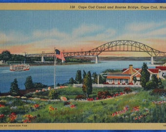 Cape Cod Canal and Bourne Bridge Massachusetts Linen Postcard