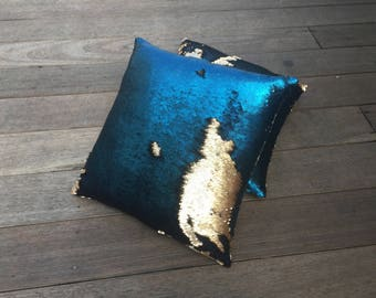 Blue Gold Pillows Etsy
