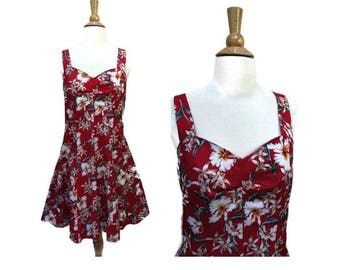 """Hawaiian Pleat Bust Dress RED Vintage Royal Creations Bust 36"""" M Hibiscus Sweetheart Neckline Fitted 1980s 80s"""
