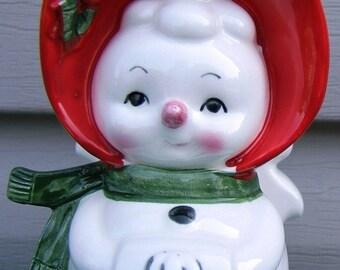 Lefton Snow Woman Christmas Ceramic Napkin Holder 1960s JAPAN