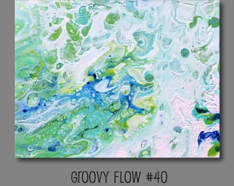 Groovy Abstract Acrylic Flow Painting #40 Ready to Hang 8x10