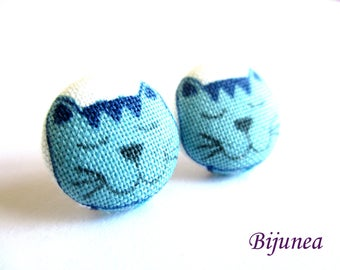 Blue cat stud earrings - Blue cat earrings - Cat studs - Blue cat jewelry - Blue cat posts earrings sf1374