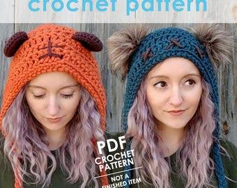 star wars crochet pattern, crochet ewok hat, bear ears hat, faux fur pom pom, crochet hat pattern, star wars costume, star wars cosplay