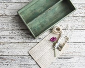 Antique Green Painted Wood Tray, Dovetailed Silver Ware Caddy, Home Organizing, Farmhouse Decor, Cottage Style