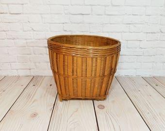 Vintage Woven Basket Plant Holder Trash Can