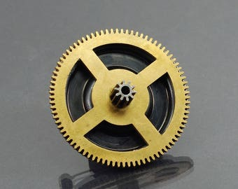 Steampunk Pin- Gunmetal & Brass Clock Gear Steampunk Brooch, Industrial Jewelry, Brass Steampunk Jewelry, Clock Gear Brooch, Cog Jewelry