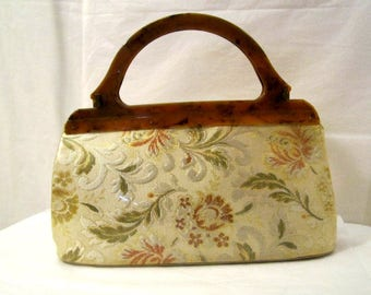 Tapestry bag covered with Vinyl, 1940s Vinyl Purse  Handbag with 2 Bakelite Handles