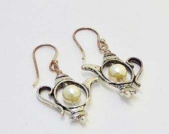 White Pearl Tea Lover's Earrings, Silver Tea Pot Earring, Mini Teapot Earrings for a Hostess Gift for Her, Teacher Gift, Tea Party Thank you