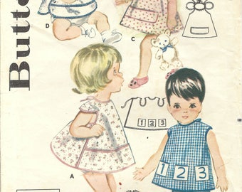 1960s Butterick 2484 Vintage Sewing Pattern Infant and Toddler Bib, Smock. Coverall Apron One Size