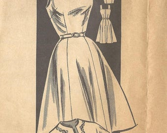 1950s Mail Order 3165 FF Vintage Sewing Pattern Misses Sundress, Party Dress, Cropped Jacket Size 18 Bust 38