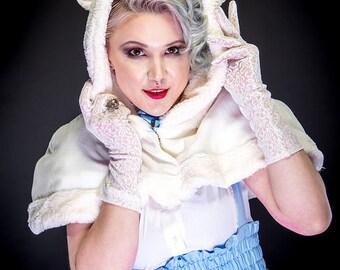 "Sweet Lolita Cape - TeddyBear Ear Mini Cape - Faux Fur Cream Kawaii Cosplay- ""Teddy Cape""- Custom to order"