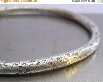 Sale Chunky Wabi Sabi Sterling Silver Bangle Bracelet