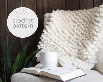 Crochet Pattern / Chunky Blanket Throw, Decor / THE WOOLY Mini Throw
