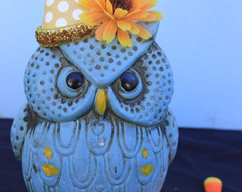 Vintage Style Halloween - Ceramic Owl Figure with Witch Hat. Blue Owl