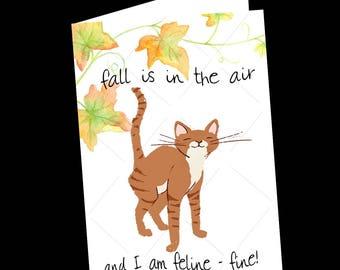 Cat-Cat Greeting Card-Fall-Autumn