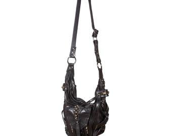 SHARK BITE Black Leather Convertible Bucket Hobo and Top Handle Bag