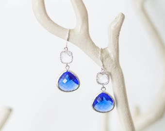 Silver blue and crystal drop earrings, glass, beach-inspired, dangle, charm, jewelry, bridesmaid gift, Handmade in Santa Cruz