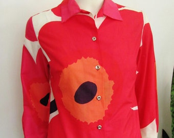 Marimekko Unikko Mod Print Cotton Blouse in Bold Pink and Red, Top or Shirt in XS