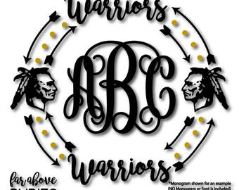 Warriors Team Monogram Wreath (monogram NOT included) Arrows Dots - SVG, EPS, dxf, png, jpg digital cut file for Silhouette or Cricut