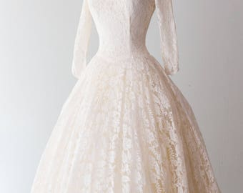 Vintage 1950s Dress - Classic 50s Sweetheart Bodice, Lace Covered, Ballerina-style, Tea-length Wedding Gown, Party Dress by Emma Domb