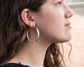 Sterling Silver Hoop Earrings, Wide, 50mm