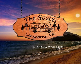 Outdoor Camping Sign   - Custom Carved Wood Family Name Sign - Personalized Outdoor Sign - JGWoodSigns - Etsy Gould
