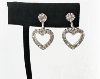Rhinestone Heart Earrings, tiny drops open pave rhinestones, silver tone, screw backs, vintage 1950s