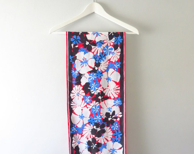 Vintage Black Red Blue Floral Print Scarf