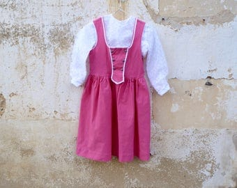 Vintage 1970/70s Authentic Girl Dirndl outfit Tyrol Austria German Dress & lace bouse  size 8 years