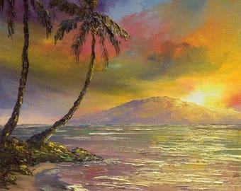 SUNSET OVER LANAI Original 8x10 Palette Knife Oil Painting Art Maui Beach Tropical Ocean Cove Island Wedding Hawaii Sky Sun Lahaina Kihei